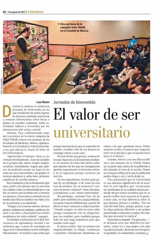 GACETA UNAM SOBRE LA CAMPAÑA DE VALORES UNIVERSITARIOS